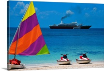 Jet Skis, Sailboard, and Cruise Ship