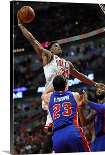 Jimmy Butler of the Chicago Bulls goes up for a dunk