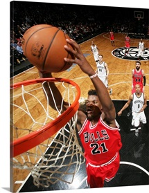 Jimmy Butler of the Chicago Bulls goes up for a dunk against the Brooklyn Nets