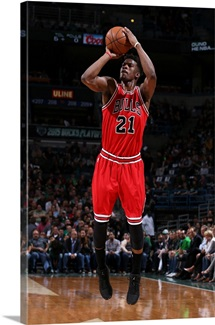 Jimmy Butler of the Chicago Bulls takes a shot against the Milwaukee Bucks