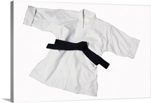 Karate uniform with black belt