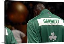 Kevin Garnett of the Boston Celtics stands on the court