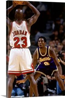 Kobe Bryant of the Los Angeles Lakers against Michael Jordan of the Chicago Bulls