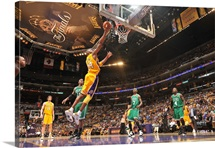 Kobe Bryant of the Los Angeles Lakers shoots against the Boston Celtics