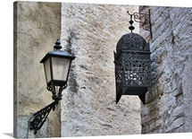 Lamp on wall, Mont-Roig del Camp, Spain.