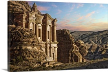 Landscape scene from Petra, Jordan. Monastery, carved into side of rock face.