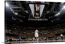 LeBron James 23 of the Cleveland Cavaliers stands on the court