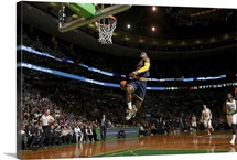 LeBron James of the Cleveland Cavaliers dunks against the Boston Celtics