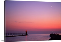 Lighthouse at sunset w/ moon, South Haven, MI