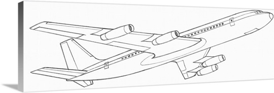 Line drawing of a passenger plane Wall Art, Canvas Prints