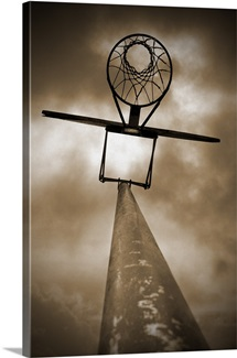 Looking up at basketball hoop