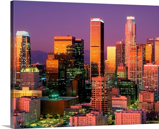 Los Angeles Skyline At Sunset Photo Canvas Print Great