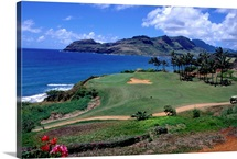 Lush golf course in Kauai, Hawaii
