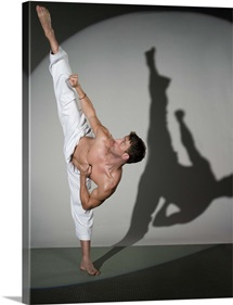 Male martial artist performing kick, studio shot