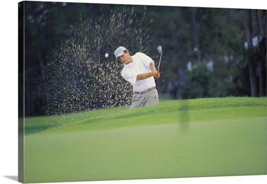 Man Hitting Golf Ball Out Of Sand Trap Photo Canvas Print Great Big Canvas