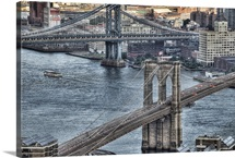 Manhattan bridge and Dumbo area in Brooklyn.