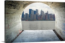 Manhattan seen through cement tunnel, New York City