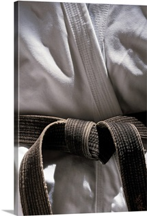 Martial arts gi with black belt