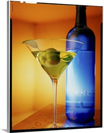 Martini and blue bottle