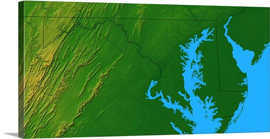 Maryland Topographic Map Photo Canvas Print  Great Big Canvas