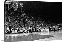 Michael Jordan of the Chicago Bulls attempts a dunk during the 1987 Slam Dunk Contest