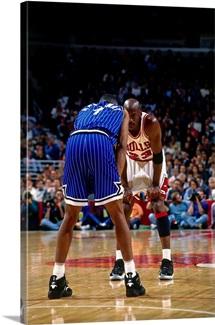 Michael Jordan of the Chicago Bulls eyes Anfernee Hardaway