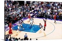 Michael Jordan of the Chicago Bulls shoots the game winner against the Utah Jazz