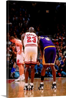Michael Jordan of the Chicago Bulls with Kobe Bryant of the Los Angeles Lakers