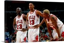 Michael Jordan, Scottie Pippen, and Dennis Rodman of the Chicago Bulls