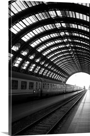 Milan Central Train Station with Railraod Tracks, Black and White