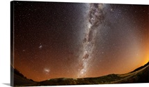 Milky way, Magellan clouds and Zodiacal light at Azul, Argentina.