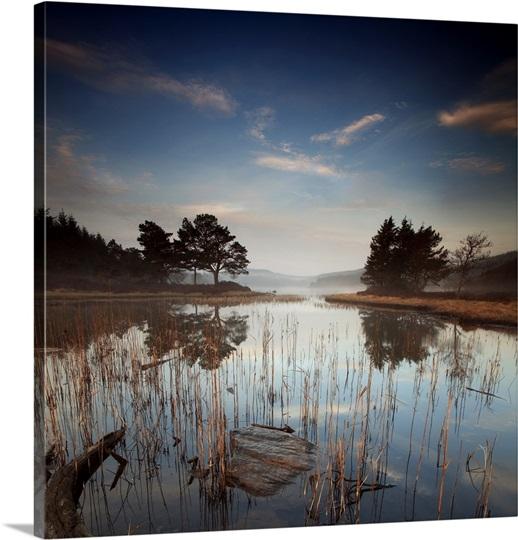Misty Lake: Misty Morning Loch Lake Photo Canvas Print