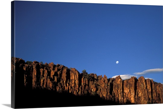 Moonrise over red cliffs, rocks of Waterberg, Waterberg National Park, Namibia, Africa
