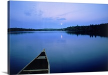 Moonrise with canoe, Boundary Waters, MN