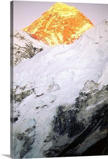 Mt Everest bathed in sunset light