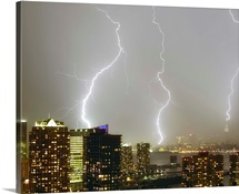 Multiple dramatic lightning strikes viewed from Jersey City, New Jersey