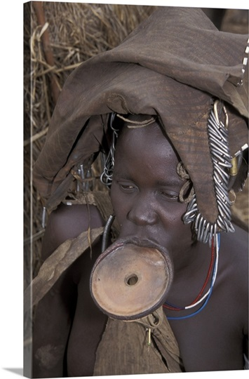 Mursi woman with lip plate, Ethiopia
