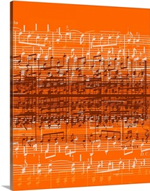 Musical notes over orange background