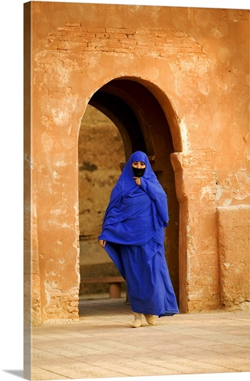 Muslim woman wearing traditional chador, Taroudannt, Morocco.