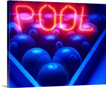 Neon Pool Sign and Rack of Billiard Balls