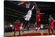 Nerlens Noel of the Philadelphia 76ers grabs the rebound