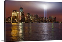 New York City, Manhattan skyline with 9/11 memorial lights
