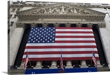 New York Stock Exchange with American flag, NYC