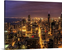Night cityscape of Chicago.