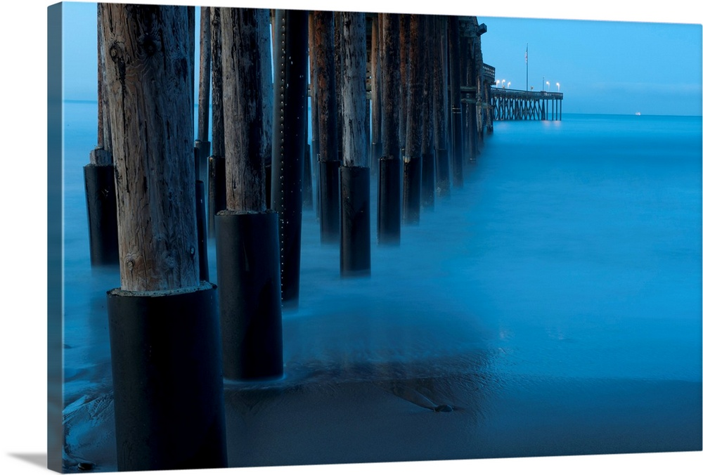 Premium thick wrap canvas wall art entitled ocean and dock for Dock pilings cost