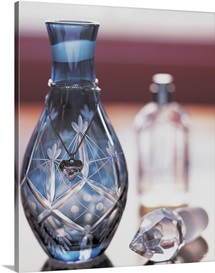 Ornate Perfume Bottle with Heart Shaped Necklace