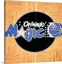 Overhead photo of the Orlando Magic logo on the court