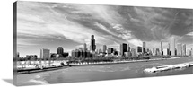 Panoramic view of Chicago skyline in winter.