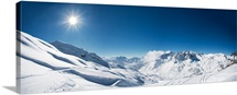 Panoramic view of St. Anton am Arlberg ski area. XXL