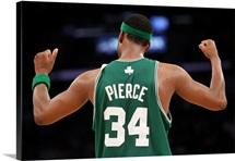 Paul Pierce of the Boston Celtics celebrates in the final moments of the Celtics' win